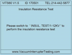 VITS60M megohmmeter insulation resistance test function selection