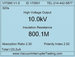 VITS60M test results screen showing insulation resistance, absorption ration and polarity index