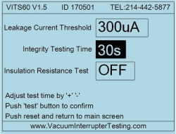 VITS60M vacuum integrity test seup screen
